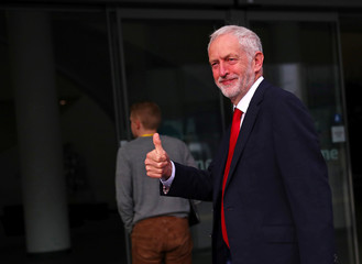 Britain's Labour Party leader Jeremy Corbyn arrives at the annual Labour Party Conference in Liverpool