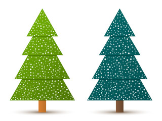 Abstract geometric coniferous trees with snow. Two shades of green. Set 1. Vector EPS 10