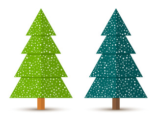 Abstract geometric coniferous trees with snow. Two shades of green. Set 2. Vector EPS 10