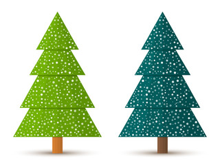Abstract geometric coniferous trees with snow. Two shades of green. Set 3. Vector EPS 10