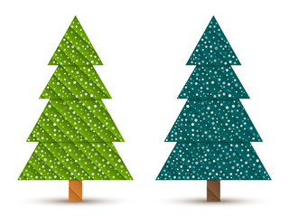 Abstract geometric coniferous trees with snow. Two shades of green. Set 4. Vector EPS 10