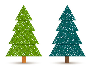 Abstract geometric coniferous trees with snow. Two shades of green. Set 5. Vector EPS 10