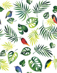 Seamless pattern, tropical leaves and birds on a white background. From it, you will get a nice padding on the fabric or wallpaper.