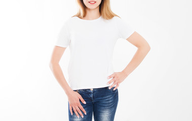 cropped portrait of young girl in tshirt. T-shirt design, people concept - closeup of woman in white shirt, front isolated. Mock up template for design print. Copy space