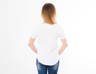 back view of young woman, girl in stylish t-shirt on white background. Mock up template for design print. Copy space. Template. Blank