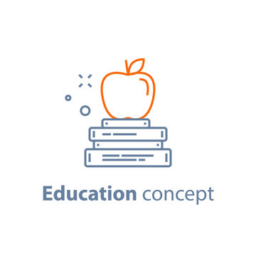 Exam preparation, education concept, stack of books with apple on top, linear icon