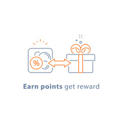 Loyalty program, earn points and get reward, marketing concept