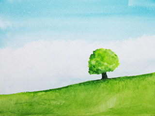 watercolor  landscape hill and tree stand alone in green meadow field with blue sky.hand drawn on paper.