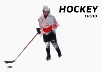 Hockey consists of triangles. Low poly hockey player. Vector illustration