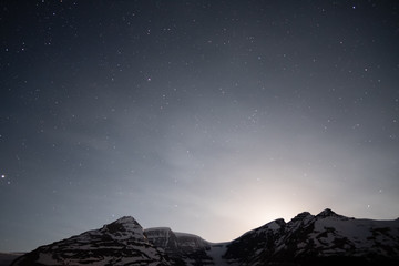 After moonset over Columbia icefield