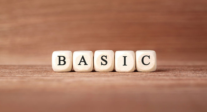 Word BASIC made with wood building blocks