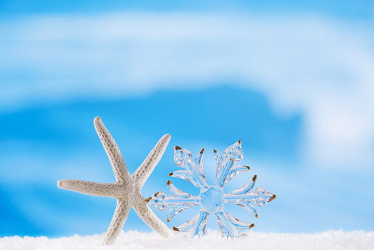 glitter christmas glass snowflake with starfish