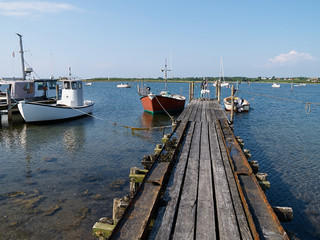 Traditional classic small fishing boats Denmark