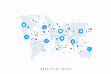 Internet of things IoT and network connection concept design vector. Social media network and marketing concept with dotted globes. Internet and business technology