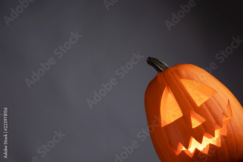 Halloween pumpkin glowing
