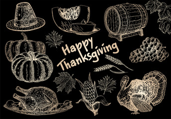 Vector collection of  elements for Thanksgiving day decoration. Vintage set of hand drawn traditional food sketch for autumn holiday. Harvest illustration outlines. Image on a black background.