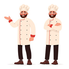 Chef cook in two poses. Vector illustration