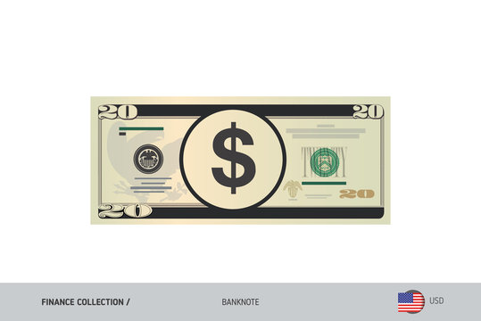 20 US Dollar Banknote. Flat style highly detailed vector illustration. Isolated on white background. Suitable for print materials, web design, mobile app and infographics.