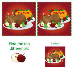 Visual Game for children. Task - find 10 differences - turkey and pie for Thanksgiving
