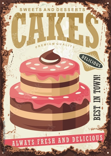 """""""Vintage sign for cakes and desserts. Retro poster with ..."""