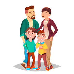 Family Vector. Mom, Dad, Children Together. In Santa Hats. Full Family. Decoration Element. Isolated Cartoon Illustration