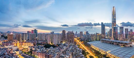 Shenzhen city night panorama