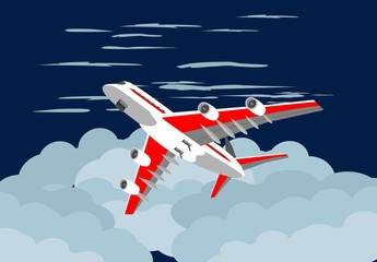 plane flying on blue sky among the clouds , travel concept vector illustration