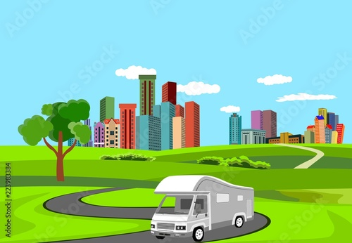 Vector 3d trailer automobill driving on road, countryside, city