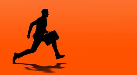 running businessman isolated on orange