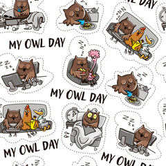 Owl pattern. Owl and the day of the owl. Humorous comics about the life of an owl, day and night.