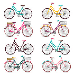 Retro Bicycles Set. Colorful Vector Bicycle Collection Isolated on White Background.