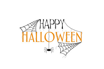 Inscription Happy Halloween. Silhouette of web and spider. White background. Isolated