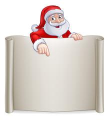 Santa Claus Christmas cartoon character pointing at a scroll banner sign