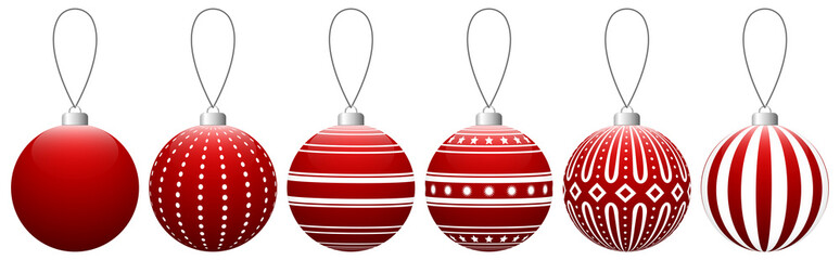 Collection of red glass Christmas balls with pattern hanging on a thread. Vector EPS 10