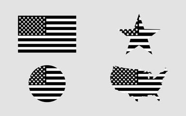Flag usa. Star flag usa. USA map. American flag in circle. Set of american flags in flat design in black color
