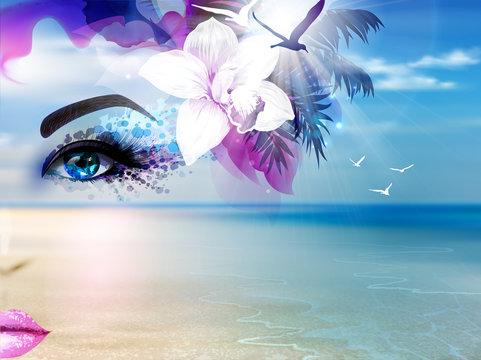 Abstract Summer collage with woman face, seascape, coastline, blue sky, sunshine and beach.