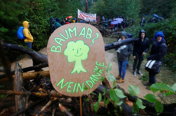People build a barricade in the forest as they protest against German utility and power supplier RWE near Kerpen-Buir