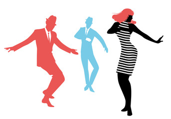 Wall Mural - Elegant silhouettes of people wearing clothes of the sixties dancing 60s style isolated on white background