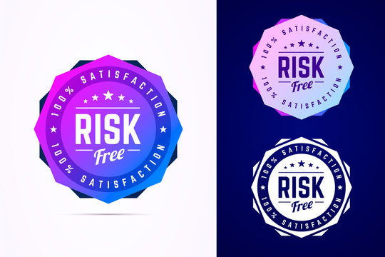 Risk free round badge. Vector sign in trendy gradient style.