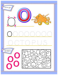 Worksheet for kids with letter O for study English alphabet. Logic puzzle game. Developing children skills for writing and reading. Vector cartoon image.