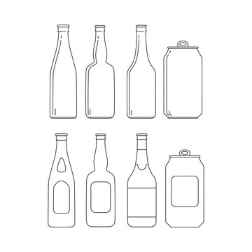 Set of beer glass bottles icons with label. Vector isolated illustration.