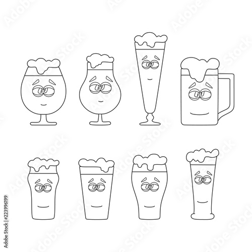 Set of outline beer emoji glasses and mug with foam icon