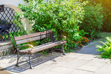 Bench in the old courtyard of the house