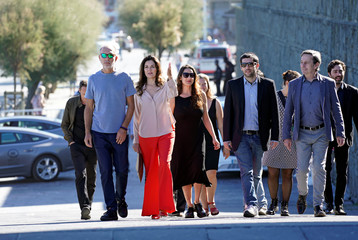 "Actors Dario Grandinetti and Andrea Frigerio, producer Barbara Sarasola-Day, director Benjamin Naishtat and actor Alfredo Castro arrive to a photocall to promote the Official Selection feature film ""Rojo"" at the San Sebastian Film Festival"
