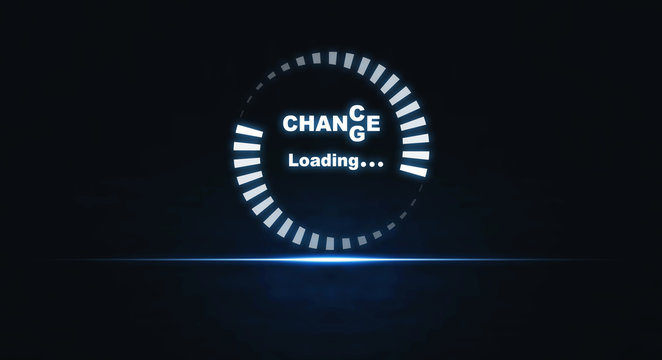 Progress Loading with the text Change to Chance. Personal development and career. Concept of motivation, goal achievement