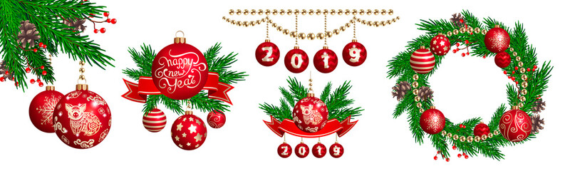 Set of decorative compositions with pig figure on a red glass balls, ribbon, fur-tree branches and cones for 2019 New Year and Christmas. Pig is a symbol of the 2019 Chinese New Year
