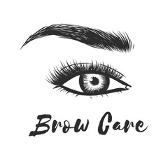 Beauty care. Beautiful hand drawing eyebrows for the logo of the master on the eyebrows and microblading master. Business card template. Lady stylish eye and brows with full lashes