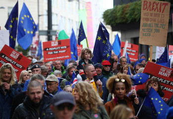 Anti-Brexit supporters demonstrate in the centre of the city, as it hosts the annual Labour Party Conference, in Liverpool