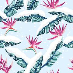 Composition enneigée de feuilles de bananier tropical bleu