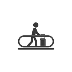 travolator and man with luggage icon. Element of airport icon. Premium quality graphic design icon. Signs and symbols collection icon for websites, web design, mobile app